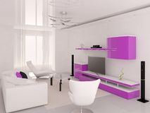 O roxo colore a sala de visitas Ilustração Stock