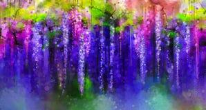O roxo da mola floresce a glicínia Pintura da aguarela Fotos de Stock Royalty Free
