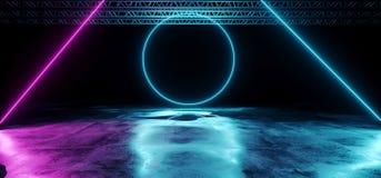 O roxo de incandescência de néon e a fase dada forma Blue Circle do laser iluminam-se sobre ilustração stock