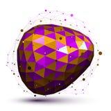 O roxo distorceu o objeto 3D abstrato com linhas e pontos Imagens de Stock