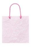 O roxo enrugou o saco de papel isolado no branco Imagens de Stock Royalty Free