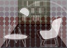 O roxo pontilha a sala de estar retro ilustração royalty free