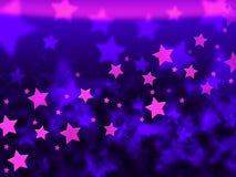 O roxo Stars mostras Celestial Light And Starry do fundo ilustração stock