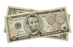 O rublo de russo em um fundo do dólar americano Fotos de Stock Royalty Free