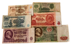 O rublo soviético em um fundo branco fotografia de stock royalty free