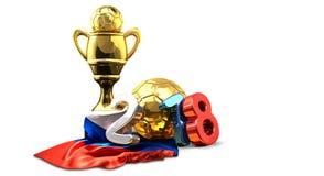 O russo dourado do futebol do futebol do troféu coloriu a rendição 2018 3d Ilustração Stock