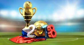 O russo dourado do futebol do futebol do troféu coloriu a rendição 2018 3d Ilustração do Vetor