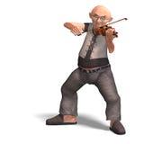 O sénior engraçado joga o violino Imagens de Stock