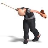 O sénior engraçado joga o violino Fotos de Stock Royalty Free