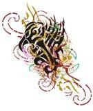 O símbolo abstrato da águia do Grunge com colorido espirra Fotografia de Stock