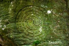 O símbolo budista coberto de vegetação com o musgo cinzelou na rocha na Índia Fotografia de Stock Royalty Free