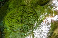 O símbolo budista coberto de vegetação com o musgo cinzelou na rocha na Índia Imagem de Stock Royalty Free