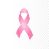 O símbolo cor-de-rosa da fita do câncer da mama isolou o fundo transparente fotografia de stock