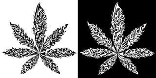 O símbolo da folha do ganja do cannabis da marijuana feito do fogo arde ilustração do vetor