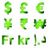o símbolo de moeda 3D, esverdeia matterial satined, fundo transparente do png Foto de Stock