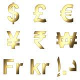 o símbolo de moeda 3D, ouro satined matterial, fundo transparente do png Foto de Stock Royalty Free