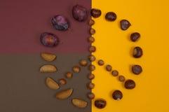 O símbolo de paz das porcas e do outono frutifica no fundo da separação Imagens de Stock Royalty Free