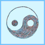 O símbolo de Yin-Yang, cursos pintados fotografia de stock