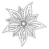 O símbolo do ícone da mandala de Chakra, floresce floral, mão do vetor tirada Fotografia de Stock Royalty Free