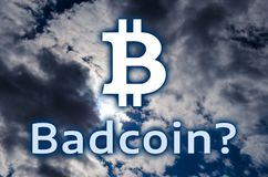 O símbolo do bitcoin e do ` Badcoin da inscrição? ` Fotografia de Stock