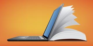 O símbolo do conhecimento, com um livro associado com um computador ilustração stock