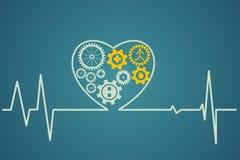 O símbolo do coração consiste nas engrenagens Foto de Stock