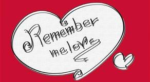 O símbolo do coração recorda dizer-me para amar o formulário macio vermelho, Fotos de Stock Royalty Free