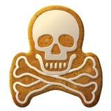 O símbolo do crânio do pão-de-espécie decorou a crosta de gelo Fotografia de Stock Royalty Free