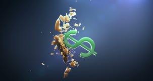 O símbolo do dólar quebra o euro- símbolo vídeos de arquivo