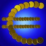 O símbolo do Euro das moedas mostra vendas europeias ilustração royalty free