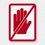 o símbolo do símbolo não toca no sinal no fundo transparente ilustração stock