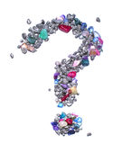 O símbolo do ponto de interrogação feito fora das gemas e da prata azul coloriu rochas metálicas em um fundo branco Fotografia de Stock Royalty Free