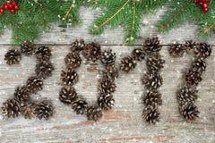 O símbolo do suspiro dos cones do pinho numera 2017 na textura de madeira do vintage retro velho Foto de Stock