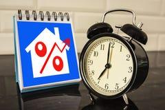 O símbolo dos por cento no bloco de notas no desktop Fotografia de Stock