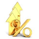 O símbolo dourado brilhante dos por cento com cresce acima setas Foto de Stock
