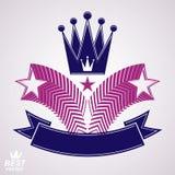 O símbolo estilizado imperial do vetor, coroa 3d com voo stars Foto de Stock Royalty Free