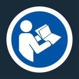 o símbolo leu o manual técnico antes do símbolo de conservação no fundo preto ilustração royalty free
