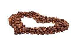 O símbolo no coração do formulário de feijões de café Fotografia de Stock Royalty Free
