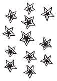 O sólido cinco estrelas do ponto com esboço destacado vector ilustrações do desenho Fotos de Stock