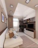 O sótão de Baccalaurean, design de interiores, rende 3D Imagem de Stock