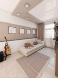 O sótão de Baccalaurean, design de interiores, rende 3D Fotos de Stock Royalty Free