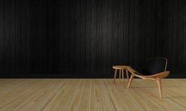O sótão e a parede simples background-3d do sala de visitas e a de madeira rendem Foto de Stock Royalty Free