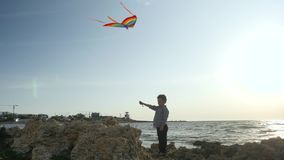 O ` s das crianças ostenta jogos controle do menino da criança da silhueta que voa papagaios coloridos o céu do seascape nubla-se vídeos de arquivo