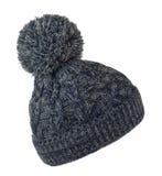 O ` s das mulheres fez malha o chapéu isolado no fundo branco chapéu com pompa Imagens de Stock Royalty Free
