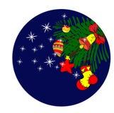O ` s do ano novo brinca em uma árvore de Natal ilustração royalty free