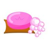O sabão cor-de-rosa com espuma borbulha vetor Fotografia de Stock