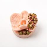 O sabão feito a mão como orquídeas floresce, aromaterapia, termas fotos de stock royalty free
