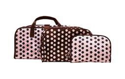 O saco cosmético das mulheres no fundo branco Foto de Stock