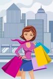 O saco de compras da mulher da forma ensaca na cidade ilustração do vetor