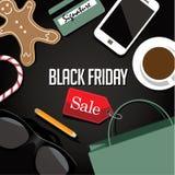 O saco de compras e as vendas de Black Friday etiquetam o projeto liso Foto de Stock Royalty Free